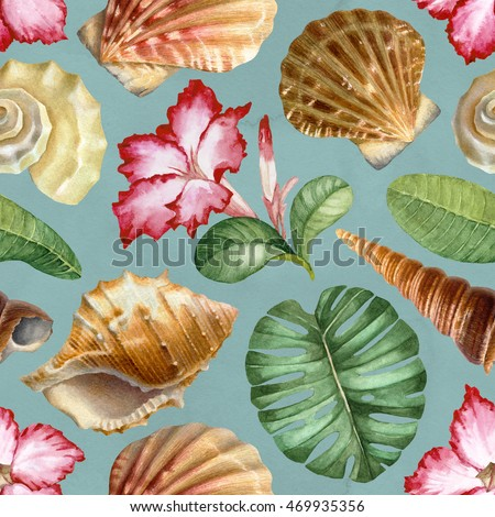 Seamless pattern with watercolor illustrations of shells and tropical flora
