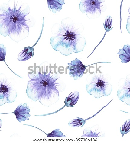 Seamless Pattern With Watercolor Light Blue And Violet Flowers - stock photo