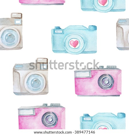 Seamless pattern with watercolor photo cameras. Decorative background with hand painted cameras perfect for fabric textile and scrapbooking. - stock photo
