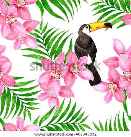 Seamless pattern with watercolor toucan and flowers, orchid, palm leaves at white background, bright tropical illustration - stock photo