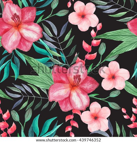 seamless pattern watercolor tropical flowers leaves stock, Beautiful flower
