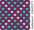 seamless pattern with white and cyan hearts - stock photo