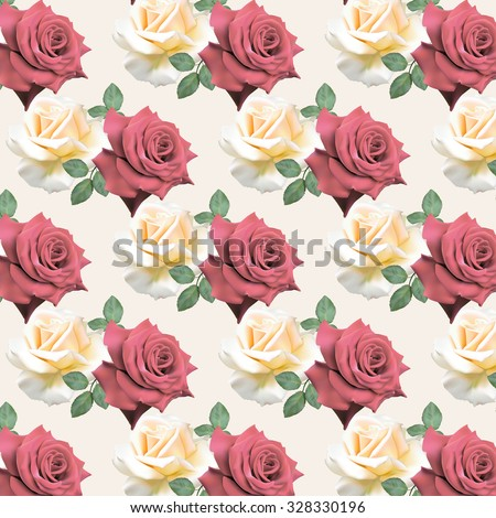 Seamless pattern with white and red roses on a white  background.