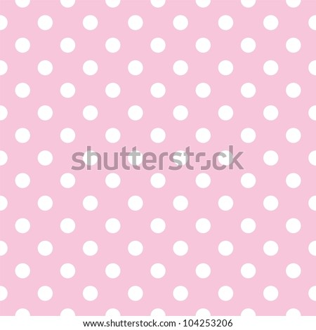 Seamless pattern with white polka dots on a tile pastel pink background - stock photo