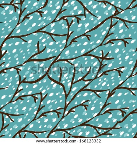 Seamless pattern with winter trees