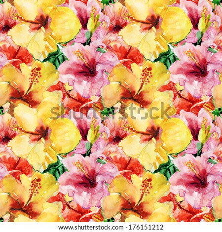 Seamless pattern with yellow and red hibiscus flowers. Watercolor illustration. - stock photo