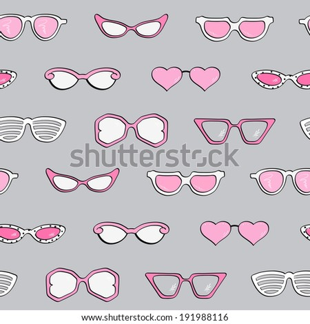 Seamless pattern, Women fashion isolated sunglasses  set, Template frame design for card, fashion theme