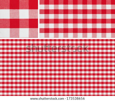Seamless picnic pattern 1500x1500 with samples. Good for red checkered tablecloth creation of any size. - stock photo