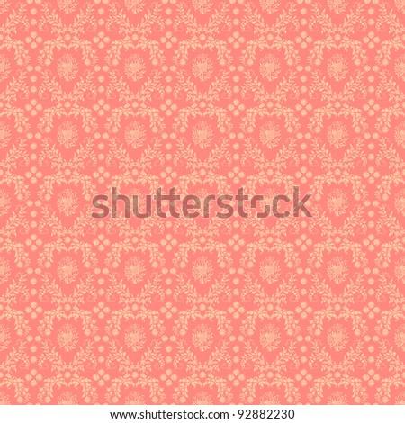 Seamless Pink Damask Background - stock photo
