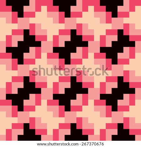Seamless pixel bow ties geometric pattern in retro colors. - stock photo