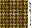 Seamless plaid houndstooth pattern in brown. - stock vector