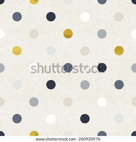 Seamless polka pattern on paper texture - stock photo
