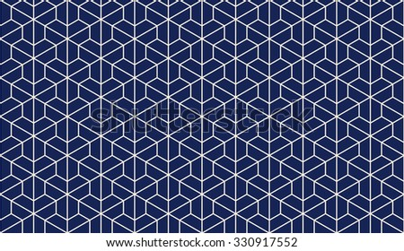 Seamless porcelain indigo blue and white trilateral outline isometric hexagonal pattern