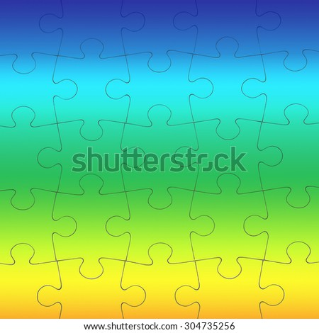 Seamless puzzle piece background pattern in a variety of colors. Conceptual image of connection, solution and business strategy.