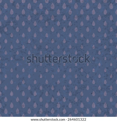 Seamless raindrops pattern on old grunge paper texture - stock photo