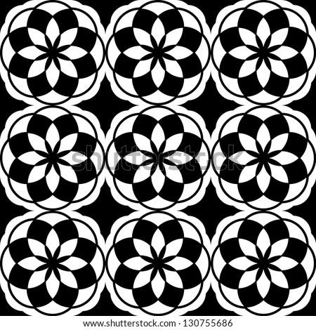 Seamless raster flower black and white pattern background - stock photo