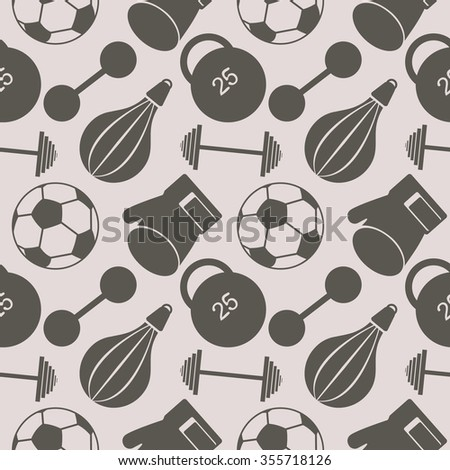 Seamless raster pattern.  Background with closeup sports equipment. Soccer ball, punching bag, gloves, barbells, dumbbells and weight. - stock photo