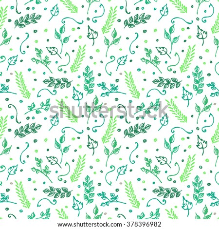 Seamless raster pattern, background with colorful branches and leaves on the white backdrop. Hand sketch drawing. Imitation of ink pencilling. Series of Hand Drawn Patterns.