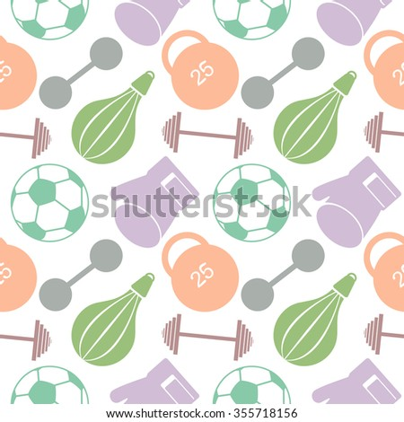 Seamless raster pattern.  Background with colorful closeup sports equipment. Soccer ball, punching bag, gloves, barbells, dumbbells and weight. - stock photo