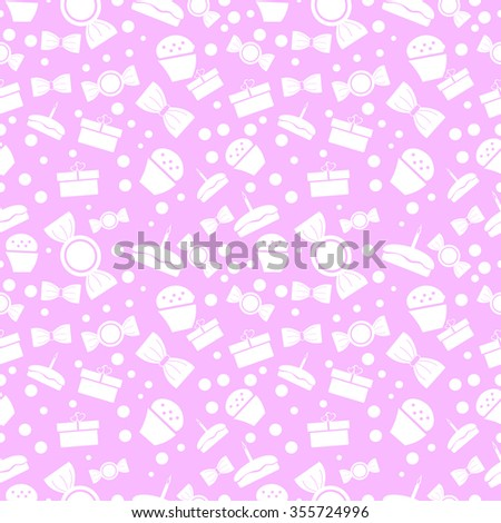 Seamless raster pattern. Chaotic pastel background with white sweets and gifts on the pink backdrop - stock photo