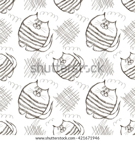 Seamless raster pattern. Cute black and white background with hand drawn cats and scribbles. Series of Cartoon, Doodle, Sketch and Scribble Seamless  Patterns. - stock photo