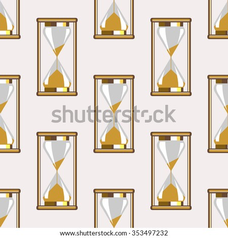 Seamless raster pattern. Symmetrical background with closeup gold sand glasses on the grey backdrop