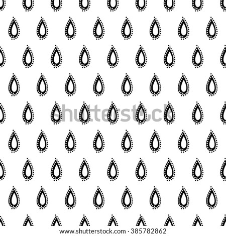 Seamless raster pattern. Symmetrical black and white ornamental background with drops. Decorative repeating ornament, Series of Floral and Decorative Seamless Pattern. - stock photo