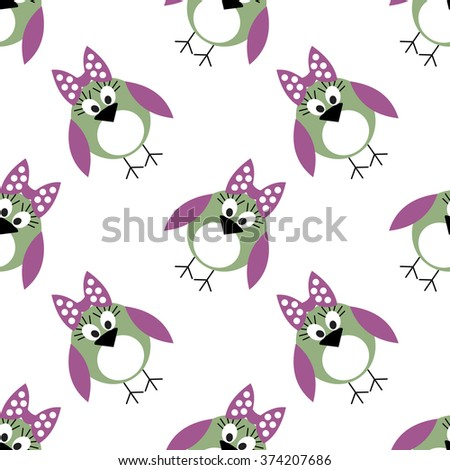 Seamless raster pattern with animals, cute background with birds. Series of Animals and Insects Seamless Patterns. - stock photo