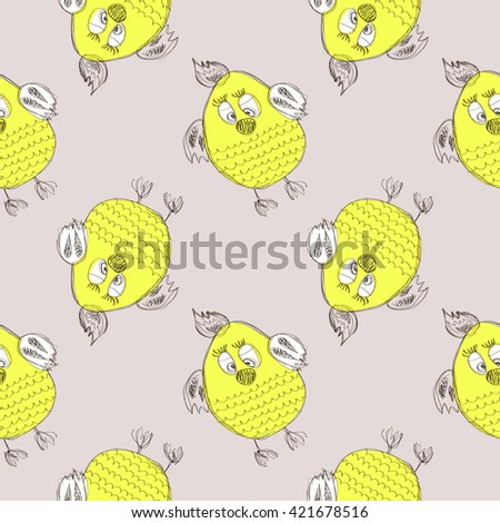 Seamless raster pattern with animals. Cute hand drawn background with yellow chicken on the grey backdrop. Series of Cartoon, Doodle, Sketch Seamless Patterns. - stock photo