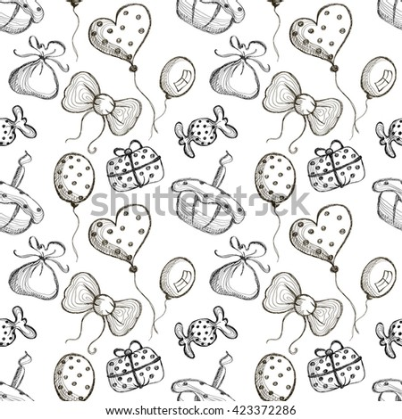 Seamless raster pattern with hand drawn air balloons, bows, gifts, cake, candy on the white background. Series of Cartoon, Doodle, Sketch and Hand drawn Seamless Patterns.