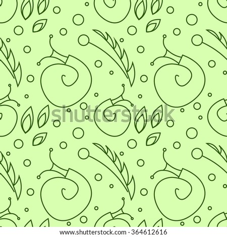 Seamless raster pattern with insects, chaotic green background with snails, leaves and dots. - stock photo