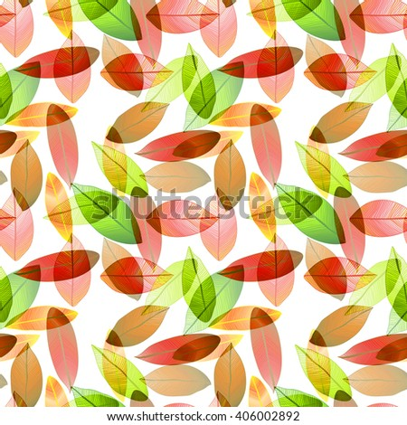 Seamless raster pattern with red and green leaves. Foliage. Leaves on white background. - stock photo