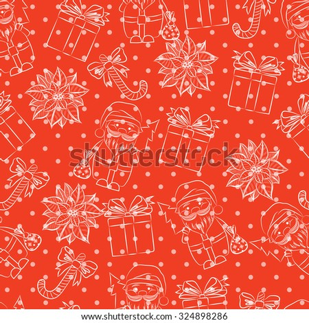 Seamless red background, Christmas and New Year's decorative elements contour.  Suitable for various designs, invitation, thank you card, wrapping paper pattern and scrapbooking - stock photo
