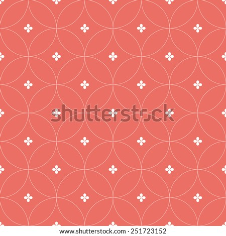 Seamless red circular floral pattern - stock photo