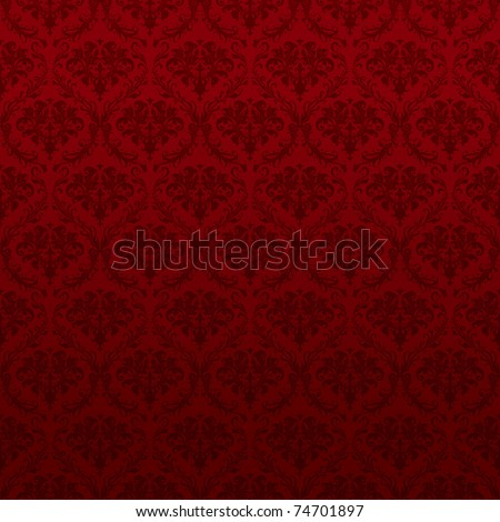 Seamless Red Wallpaper Pattern, bitmap copy - stock photo