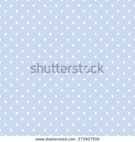 Seamless repeating polka dot spotty pattern with white  spots on a pale pastel  blue background. - stock photo