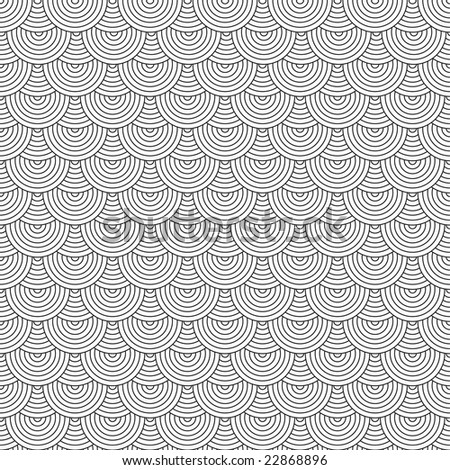 Seamless repeating seventies inspired wallpaper design in black and white - stock photo