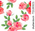 Seamless rose floral pattern. Raster version. Vector version is in my gallery. - stock photo