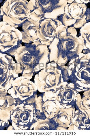 seamless rose pattern,watercolor and ink flowers,legging ,bed clothing and trousers pattern - stock photo