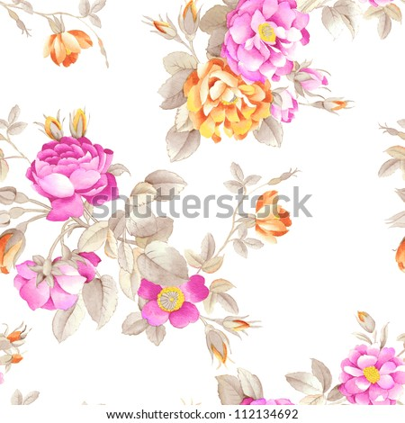 seamless rose pink background design pattern - Romantic style - stock photo