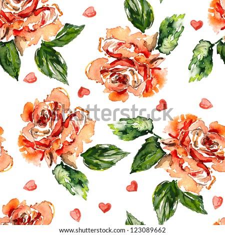Seamless Roses Background - stock photo