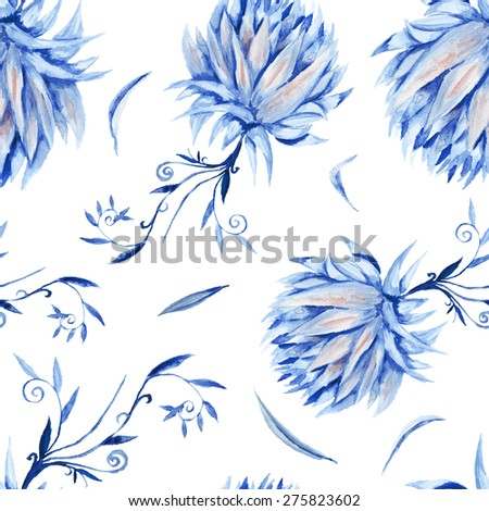 Seamless royal renaissance artistic background with blue peony flowers on white | Indigo Floral Watercolor Pattern - stock photo