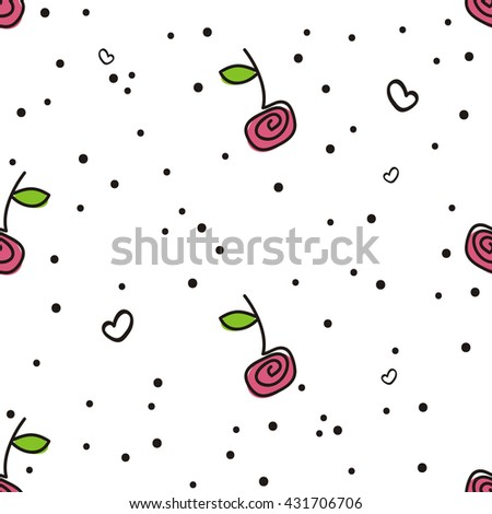 Seamless sample, cherries, white background. A cheerful summer sample with berries of cherry, hearts and confetti.  Fabric, packing paper, party invitation, celebration, etc. - stock photo