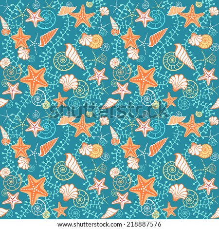 Seamless sea pattern. Blue background with seashells, starfish and algae. Texture for print, web - stock photo