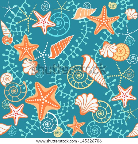 Seamless sea pattern. Dark blue background with seashells, starfish and algae. Abstract illustration with concept of seaside resort, vacation, diving. Simple marine decorative texture for print, web - stock photo