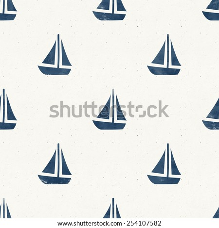 Seamless sea themed pattern on paper texture. Cobalt blue collection - stock photo