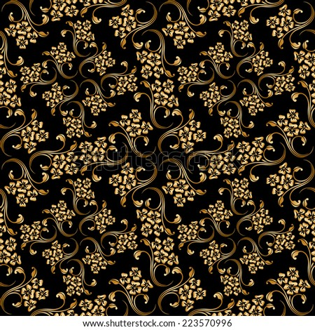 Seamless shining background with vintage floral pattern. Raster version.