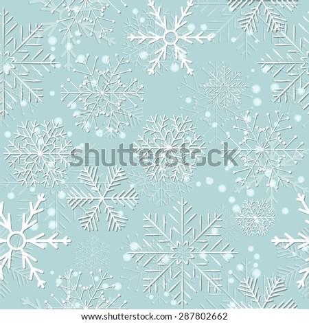 Seamless Snowflakes Background.  Illustration Raster Version - stock photo