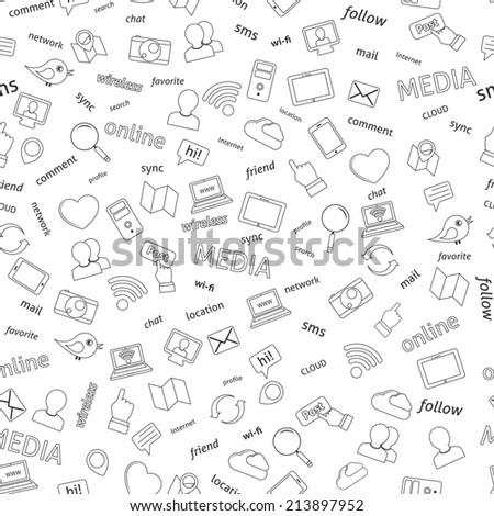 Seamless  social network media icons pattern background  illustration