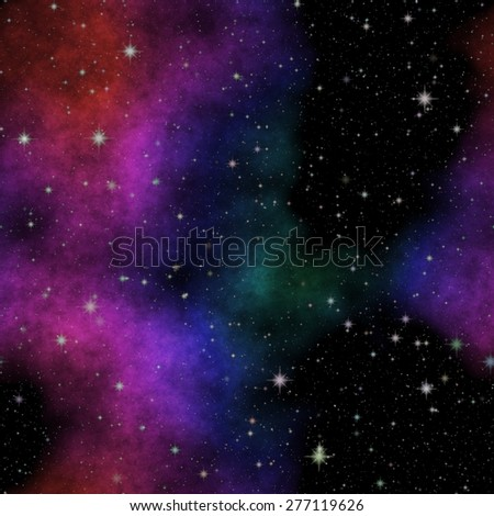 Seamless space pattern texture with color nebula - stock photo